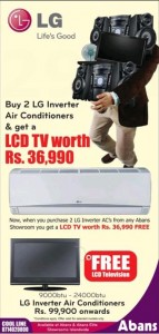 Buy 2 LG Inverter Air Conditioner & Get FREE LCD TV from Abans