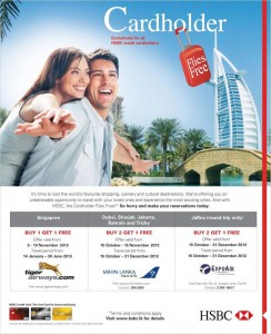 Buy one; Get one Free – Air Ticket Offer from HSBC Srilanka Valid till 19th November 2012