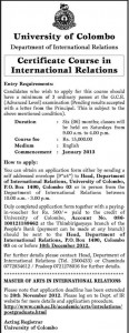 Certificate Course in International Relationship 2013 Academic Year – University of Colombo