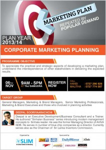 Corporate Marketing Planning for Year 20132014 – Workshop by SLIM