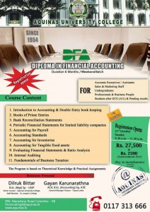 Diploma in Financial Accounting course from Aquinas University College