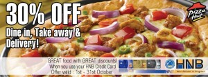 HNB Credit Card – 30% Off from Pizza hut