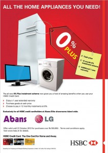 HSBC Credit Card Offers for Abans - Till 31st October 2012