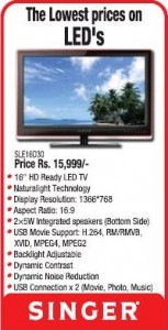 Lowest Prices for LED TV from Singer