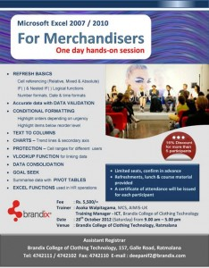 Microsoft Excel 2007 2010 for Merchandisers – Brandix College of Clothing Technology