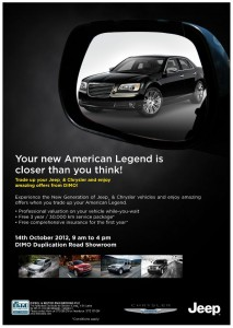 New Generation Jeep & Chrysler offer from DIMO on 14th October 2012