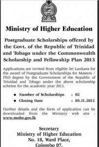 Postgraduate Scholarships – Government of Trinidad and Tobago
