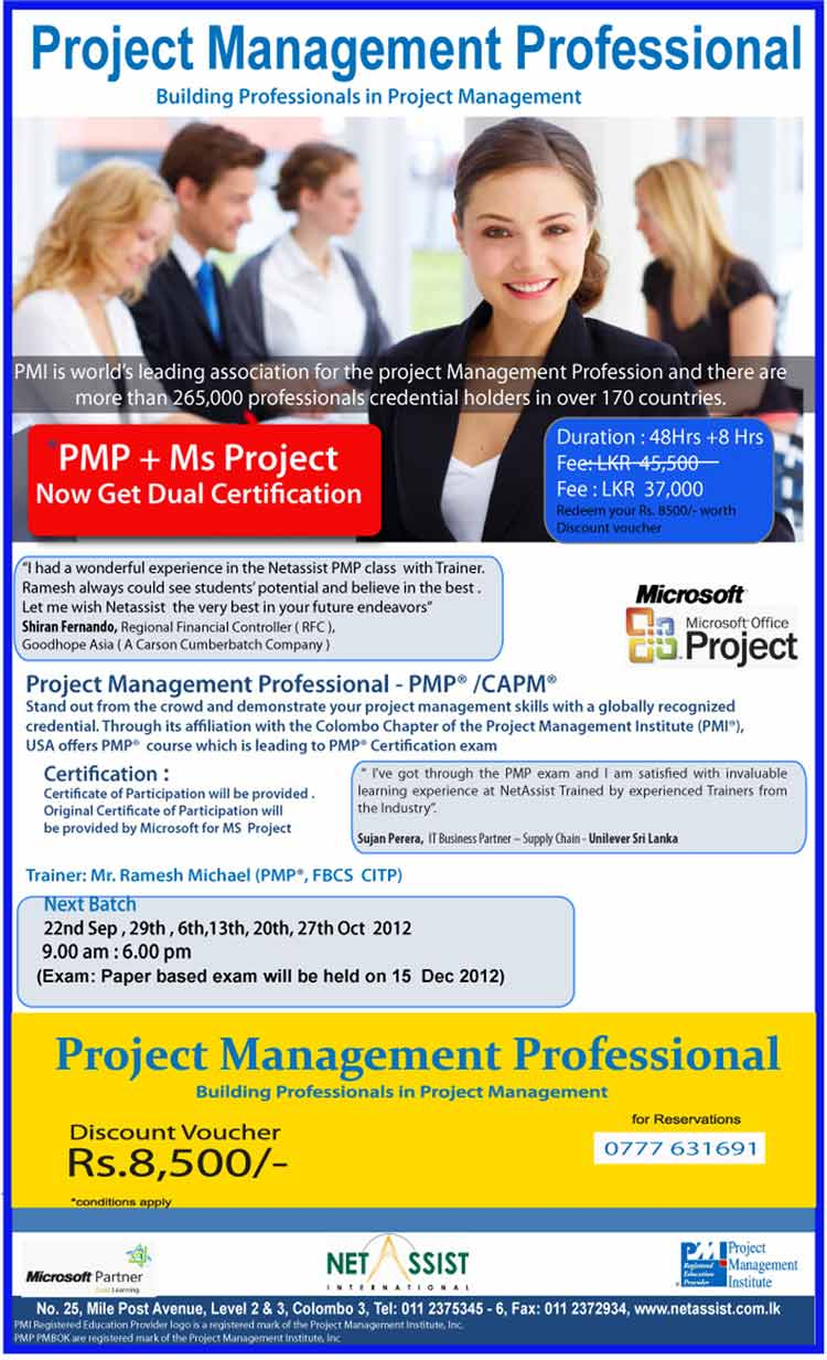 Project Management Professional Certification In Srilanka Synergyy