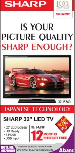 "Sharp 32"" LED TV for Rs. 64,990.00"