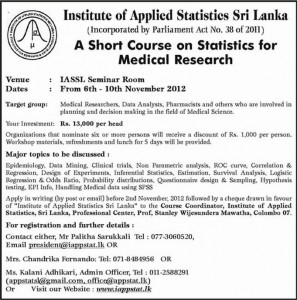Short course on Statistics for Medical Research