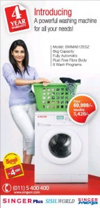 Singer Front Loading Washing Machine for Rs. 69,999.00