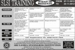 Srilanka Standards institution Training programme for November 2012