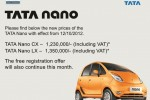 TATA NANO Update Price – September 2015