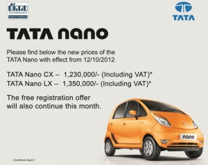 TATA NANO Update Price - October 2012