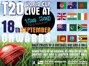 "Twenty 20 World Cup Live at ""The Keg Pub & Restaurant"" from 18th September 2012"