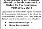 Undergraduate Scholarships from Government of Serbia for Srilankan students