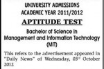 University of Kelaniya – Aptitude Test for B.Sc in Management and Information technology