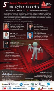 5th Annual National Conference on Cyber Security in Srilanka- 5th December 2012