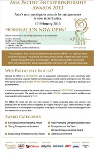 Asia pacific Entrepreneurship Awards 2013 – Nominations Open Now
