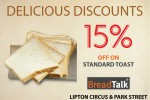 Breadtalk today's offer – 15% Off on Standard Toast