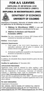 Diploma in Business and Financial Economics (DBFE) & Diploma in Micro Finance (DMF) Course by University of Colombo