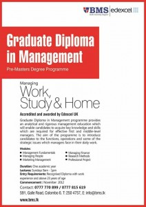 Graduate Diploma in Management from BMS Srilanka