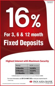 Highest Interest Rate for Fixed Deposits from Pan Asia Bank