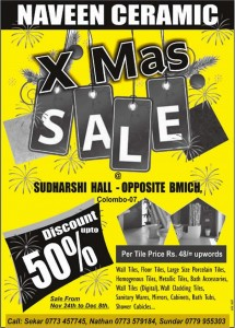 Naveen Ceramic X'Mas sales Discounts up to 50% from 24th Nov to 8th Dec, 2012