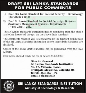 Public Comments for Draft Srilanka Standard