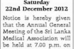 Srilanka Medical Association – Annual General Meeting on 22nd December 2012