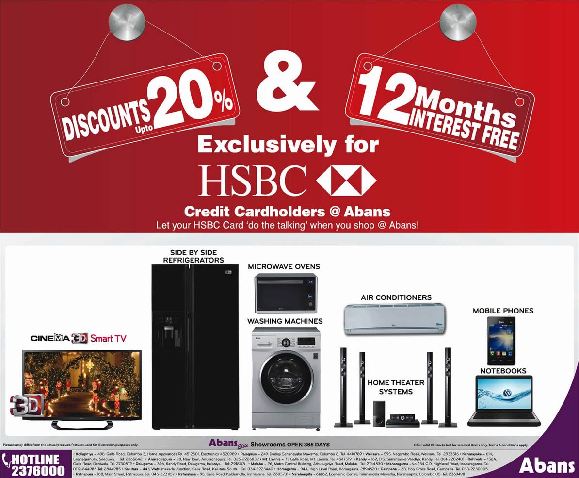 20% Discount for HSBC Credit card at Abans Srilanka – SynergyY
