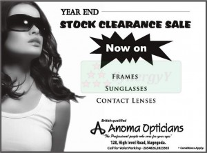 Anoma Opticians Year end Stock Clearance Sales