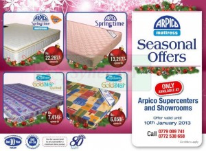 Arpico Mattress Season Offers – Dec 2012 to 10th Jan 2013