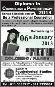 Diploma in Counseling & Psychotherapy 2013 by Institute of Psychological Studies