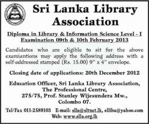 Diploma in Library and Information Science – Level 1 Examination