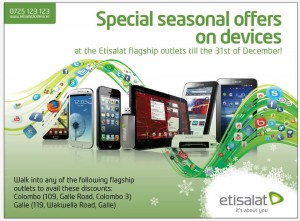 Etisalat Season Offers for All Mobile, Tablets, Dongles and Routers till 31st December 2012