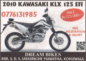 Kawasaki KLX 125 Motor Bike in srilanka for Rs. 325,000.00