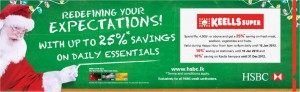 Keells Super – HSBC Promotions Discounts Up to 25% - till 15th Jan 2013