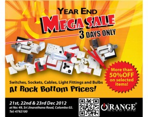 Orange Year End Mega Sale on 21st, 22nd and 23rd Dec. 2012 – Discounts upto 50%