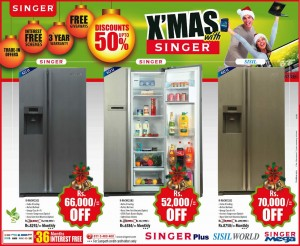 Singer side by side door refrigerators Discounts Upto 50% Now at Singer Srilanka