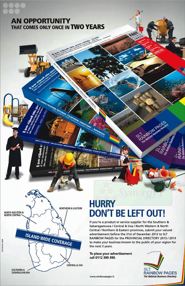 Srilanka Telecom Rainbow Pages Advertisement for Provincial