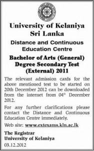 University of Kelaniya Bachelor Degree Secondary Test 2011
