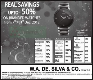 Up to 50% Discounts for Branded Watches from 7th – 31st December 2012