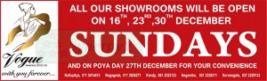 Vogue Jewellers (Pvt) Ltd Opens on Sundays on December 2012