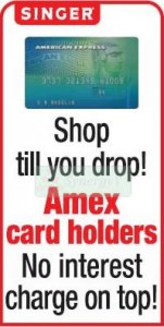 0% interest for American Express Credit card at Singer Srilanka
