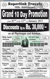 10 Days promotion on all Pilgrimages and Holidays by Superlink Travels