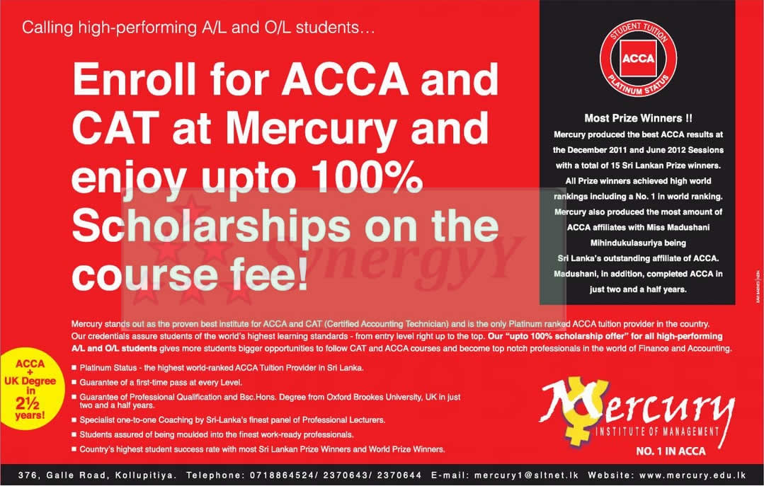 100% Scholarships for ACCA Course Fee for high performed student in