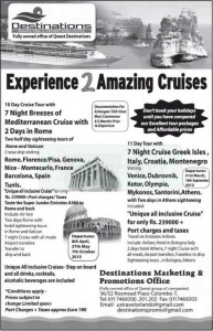 10days and 11 Days Cruises Ship trips for Rs. 229,000.00 to Rs. 239,000.00