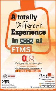 25% Discount on Tuition fee for ACCA from FTMS Global Academy – 1st to 11th January 2013