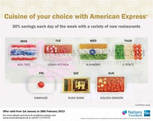 30% off for Cuisine of your choice with American Express From 1st January to 28th February 2013